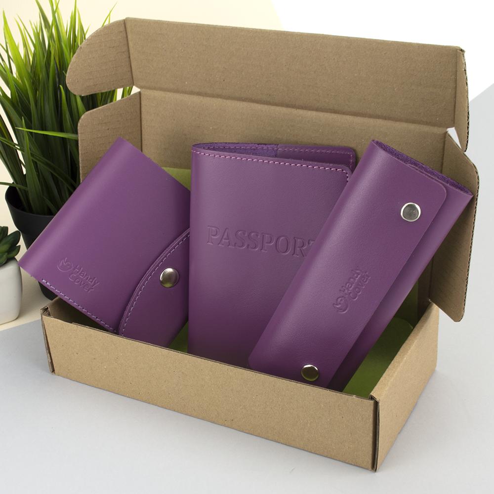 Подарунковий жіночий набір Handycover №54 (фіолетовий) гаманець + ключниця + обкладинка на паспорт