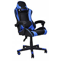 Кресло игровое с подушками стул с системой качания TILT кресло геймерское с наклоном спинки синее