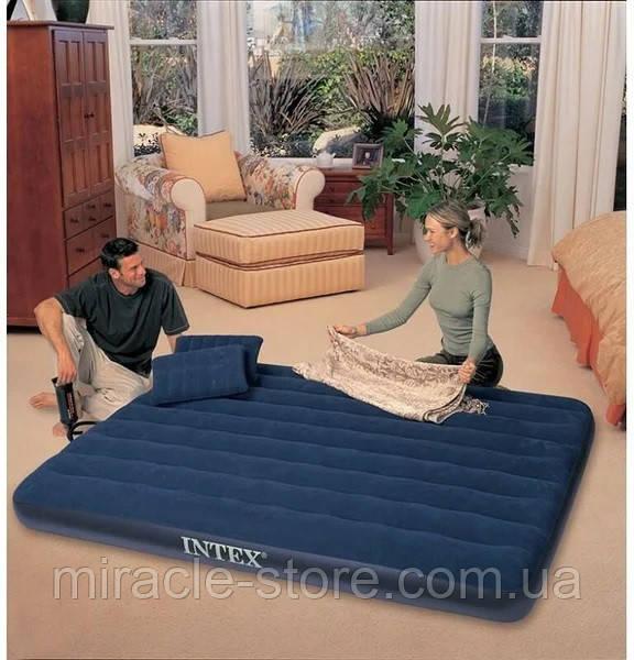Надувний матрац з подушками і насосом Intex 152 х 203 х 25 см Синій Інтекс