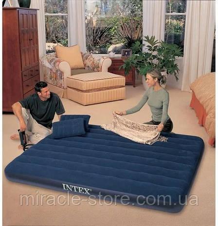 Надувний матрац з подушками і насосом Intex 152 х 203 х 25 см Синій Інтекс, фото 2