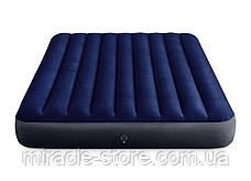 Надувний матрац з подушками і насосом Intex 152 х 203 х 25 см Синій Інтекс, фото 3