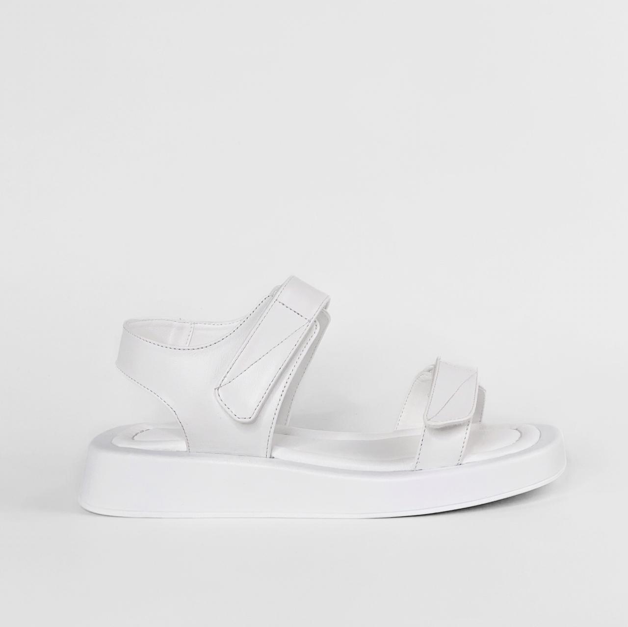 Сандалии женские кожаные белые на липучках MORENTO