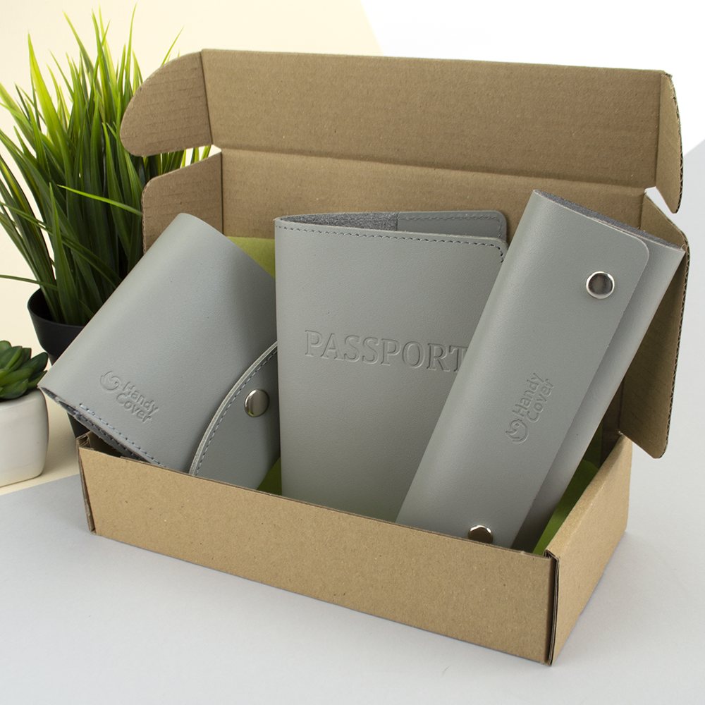 Подарочный набор женский Handycover №54 (серый) кошелек + ключница + обложка на паспорт