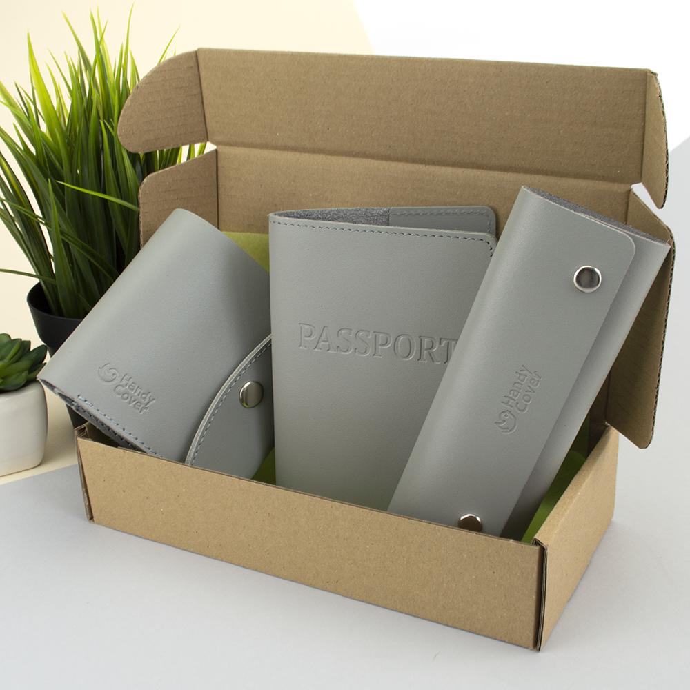 Подарунковий набір жіночий Handycover №54 (сірий) гаманець + ключниця + обкладинка на паспорт