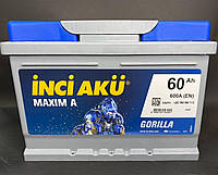 Акумулятор Inci Aku MaximA Gorilla 60Ah/600A L+ автомобільний (Инджи Акю) LB2 060 060 113 АКБ Туреччина ПДВ