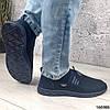 Мокасини сині чоловічі з сіткою текстильної повсякденна зручна легка чоловіче взуття, фото 5