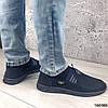 Мокасини сині чоловічі з сіткою текстильної повсякденна зручна легка чоловіче взуття, фото 6