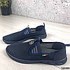 Мокасини сині чоловічі з сіткою текстильної повсякденна зручна легка чоловіче взуття, фото 7