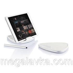 Универсальная подставка для планшета светло-серая со стилусом