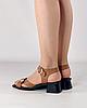 Босоножки женские кожаные коричневые на каблуке с пряжками MORENTO, фото 3