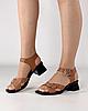 Босоножки женские кожаные коричневые на каблуке с пряжками MORENTO, фото 5