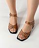 Босоножки женские кожаные коричневые на каблуке с пряжками MORENTO, фото 6