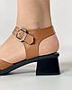 Босоножки женские кожаные коричневые на каблуке с пряжками MORENTO, фото 7
