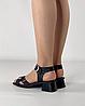 Босоножки женские кожаные чёрные на каблуке с пряжками MORENTO, фото 3