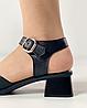 Босоножки женские кожаные чёрные на каблуке с пряжками MORENTO, фото 7