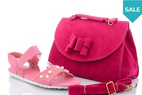 Босоніжки жіночі рожеві штучна замша з перлами і сумка Набір,розміри 38,39,40