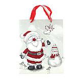 """Пакет бумажный """"Santa Claus и снеговик"""" 26 x 32 см, фото 2"""