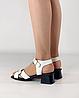 Босоножки женские кожаные белые на каблуке с пряжками MORENTO, фото 3