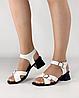 Босоножки женские кожаные белые на каблуке с пряжками MORENTO, фото 5