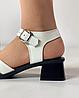 Босоножки женские кожаные белые на каблуке с пряжками MORENTO, фото 7