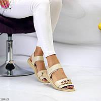 """Жіночі шкіряні босоніжки на низькому ходу Бежеві """"Circuit"""", фото 1"""