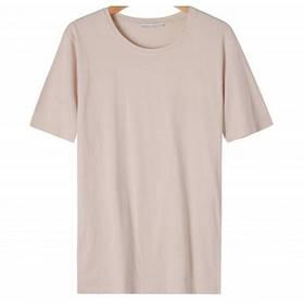 Женская однотонная бежевая футболка