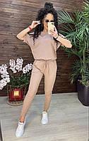 Стильный женский костюм джогеры+футболка лето пудровый