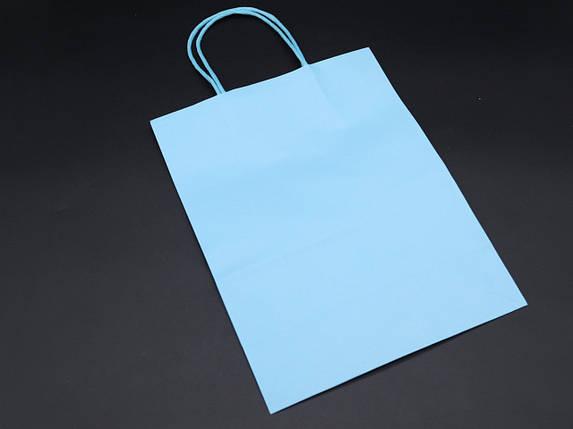Крафт пакети. Колір голубий. 21х27х11см, фото 2