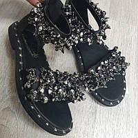 Босоножки для девочки с камнями черно-серебристые, фото 1