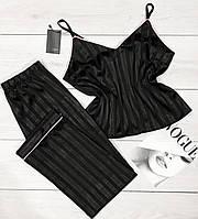 Чорна піжама майка+штани в смужку, жіночі піжами