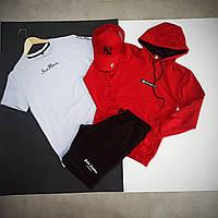 Мужской спортивный костюм Футболка+шорты+худи+кепка / Летний комплект