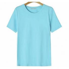 Жіноча однотонна блакитна футболка