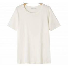Женская однотонная молочная футболка
