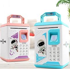 Детский электронный сейф,Копилка детская электронная Robot Bodyguard (синяя, розовая)