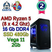 Игровой компьютер / ПК  AMD Ryzen 5 3400G  4 x 4.2GHz / B450 / 16Gb DDR4 / SSD 480Gb / Vega 10  / 500W)