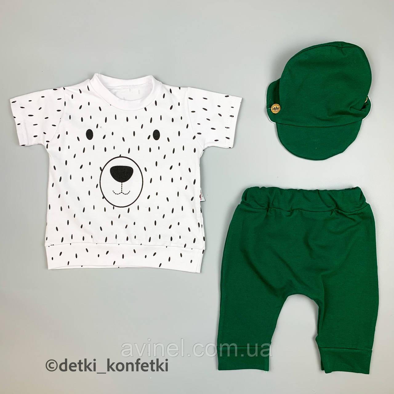 Комплект футболка, шорты, кепка Зелёный Murat baby Турция 56-62 (р)