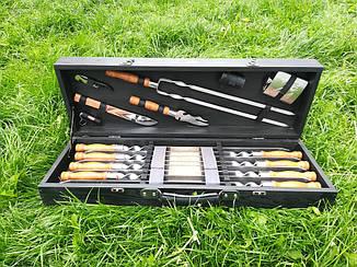 """Набір 8 шампурів для люля-кебаб """"Lux"""" (720х20х2.5 мм) + набір аксесуарів в подарунковому кейсі"""