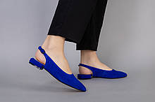 Босоножки женские замшевые цвета электрик на маленьком каблуке