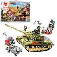 Конструктор Qman военный танк, машинка, фигурки, 858 деталей