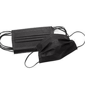 Маска медична тришарова одноразова з МЕЛЬТБЛАУН (Meltblown) (50шт в упаковці) чорна