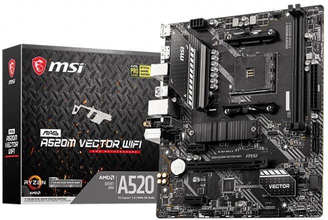 Материнська плата MSI MAG A520M Vector Wi-Fi (sAM4, AMD A520, PCI-Ex16)