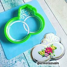 Трафарет + формочка-вырубка для пряников Свадебные кольца