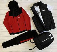 Спортивный костюм Андер Армор Комплект Жилетка + Кофта + Штаны Under Armour мужской красный Люкс