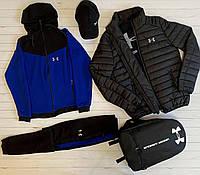 Спортивный костюм мужской весенний осенний Under Armour (Андер Армор) черный-синий демисезонный ЛЮКС