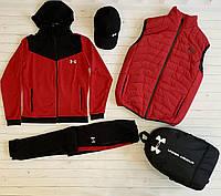 Мужской комплект Жилетка + Кофта + Штаны Under Armour красный Спортивный костюм Андер Армор Люкс