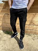 Брюки карго мужские осенние Status черные Штаны мужские с карманами ТОП качества
