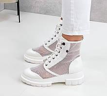 Женские ботинки белые ЛЕТО летние эко кожа+ сетка