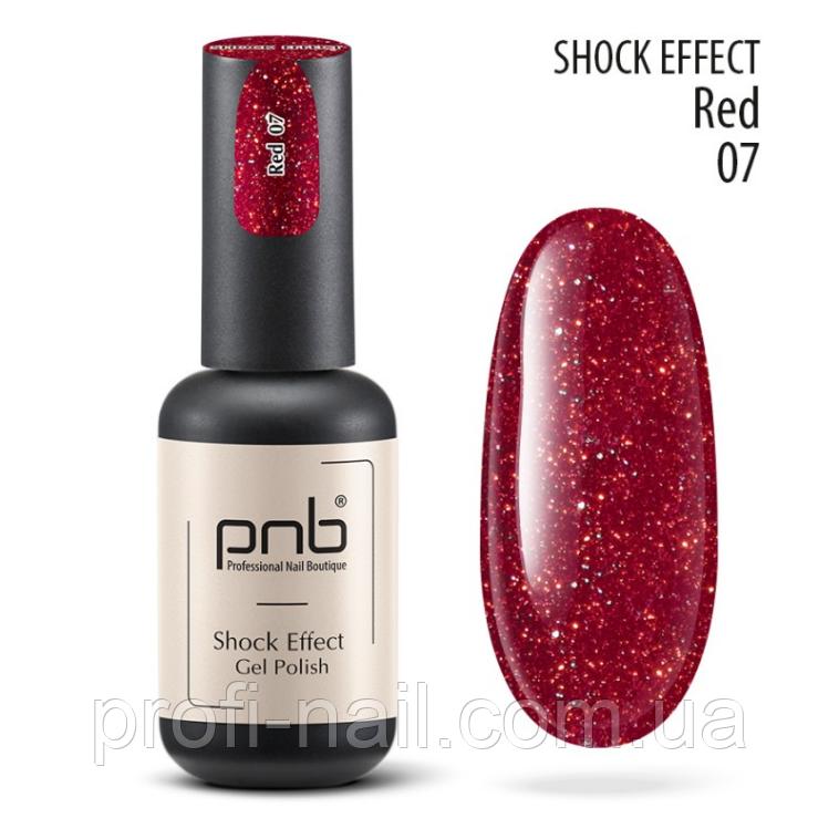 Гель лак PNB Shock Effect, Red 07 светоотражающий гель лак