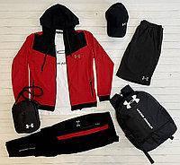 Спортивный костюм мужской Under Armour черный-красный Комплект Кофта + Штаны демисезонный