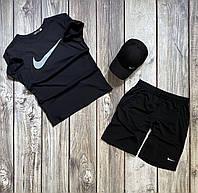 Спортивный костюм летний Футболка + Шорты Nike черно-белый Найк ТОП качества